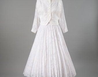 Vintage White Dress Set, Bridal Two Piece Cotton Set, 80s Designer Jeanne Marc, Cropped Top, Wide Skirt, Women's Clothing, Dresses