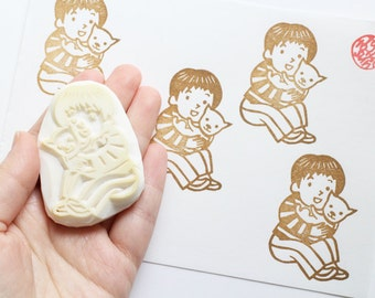 my dog hand carved rubber stamp. i love pet stamp. child puppy stamp. friendship stamp. diy birthday gift wrapping scrapbooking card making