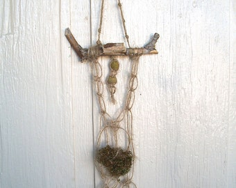Wall Hanging- Handmade By Me -Macrame Brown Wood Moss Hand Dyed Eucalyptus Caps