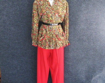 40s 50s Vintage Lounge Wear Set, Red Rayon Side Button Pants, Paisley Blouse, Peggy Jean Distinctive Daytime Apparel, Hostess PJ's, Bust 35