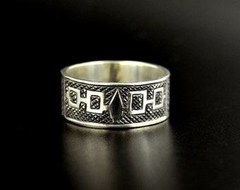"""Sterling Iroquois Flag Ring with Antiqued Oxidized Finish 3/8"""" Wide Custom Size First Nations Jewelry"""