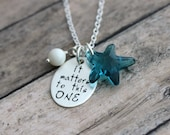 It Matters To This One,  Swarovski Crystal Indicolite aqua Blue Starfish Necklace, Hand Stamped Sterling Silver, Ivory Pearl, Starfish Poem