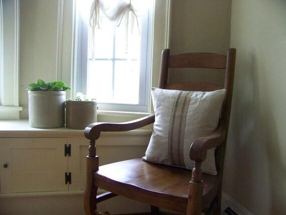free shipping - black stripe jute pillow - canvas - natural - burlap pillow - grainsack - farmhouse - farm - grain sack - farm