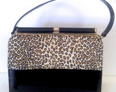 Vintage Patent Leather Black & Leopard Print Life Stride Handbag