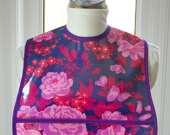 Rose Bouquet Extra Small Adult Bib - vinyl covered small adult bib with pocket