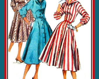 Vintage 1955 ROCKABILLY GIRLFRIEND DRESS-Sewing Pattern-Two Styles-Wing Collar-Diamond Back Yoke-Kimono Sleeves-Flirt Skirt-Size 12-Rare