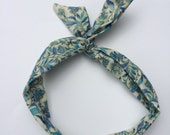 Dolly Bow Blue floral print Wire Headband Rockabilly Pin up Woman Teen Girls