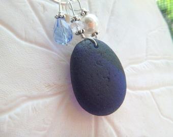 Midnight Blue Sea Glass Necklace English Beach Glass Jewelry Sterling