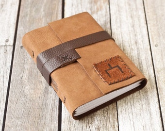 Tan Leather Journal with Hobo Symbol - Here Is The Place Travel Diary
