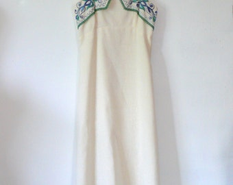 vintage 1970s Embroidered Dress