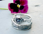 Birch Bark Wedding Ring Set. Twig Wedding Set. Alexandrite Ring. Alexandrite Wedding Ring. Rustic Wedding Rings. Unique Engagement Ring