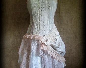 Stripe bustle dress