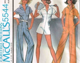 Misses Front Zippered Jumpsuit Mod Pointed Collar Simplicity 7310 Sewing Pattern Vintage 1970s  Size 10