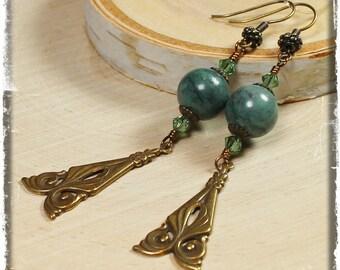 Among the Trees... Handmade Jewelry Earrings Beaded Glass Antique Brass Metal Dark Forest Green Lightweight Long Boho Artisan Art Nouveau