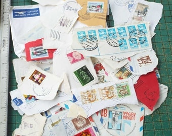 vintage postmarks and postage stamps, 1970s up, around the world, collection, scrapbook, collage
