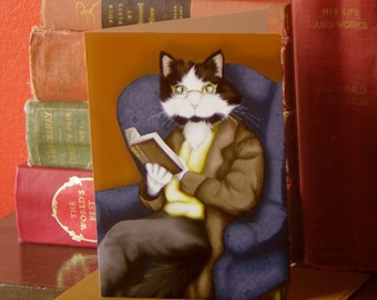 Reading Cat Card, Tuxedo Cat in Suit Reading Book, Literary Cat Art 5x7 Greeting Card