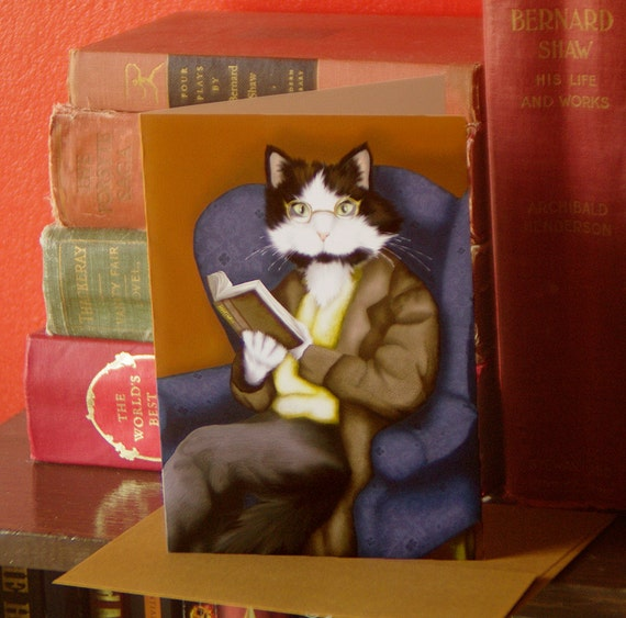 Reading Cat Card, Tuxedo Cat in Suit Reading Book, Literary Cat Art 5x7 Greeting Card