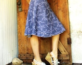 Songbird Mid Length Wrap Skirt - Organic Cotton - Made to Order - Blue or Tan - Eco Fashion