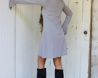 Dahlia Long Sleeve Tunic Dress - Organic Fabric - Made to Order - Choose Your Color