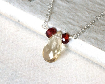Champagne Quartz Necklace with Garnet on Sterling Silver - Golden Dawn