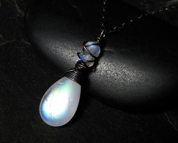 Moonstone Necklace, Rainbow Moonstone Necklace, Oxidized Sterling Silver - Snow Queen by CircesHouse on Etsy