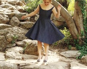 Denim Dress Retro Summerwear with Off Shoulder Bateau Neckline Vintage Full Skirt 50s 60s Blue Denim Black