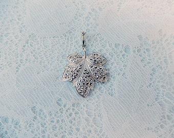 vintage sterling silver marcasite pendant maple leaf shape vintage jewelry