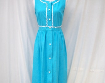 70s Turquoise Blue Ric Rac Maxi Dress size Small Heiress Hostess Gown