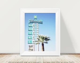 Retro Motel Photography, Flamingo Hotel, Mid Century Modern, Vintage Kitch, Tucson Arizona, Pastel Blue, summer adventure fine art print