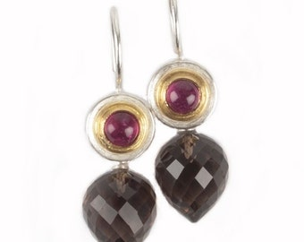 earrings with pink tourmalines and smoky quarz