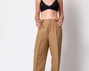 The Vintage High Waisted Tan Trouser Pants