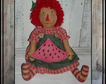 Primitive folk art raggedy watermelon slice summer rag doll hand embroidered hafair ofg faap