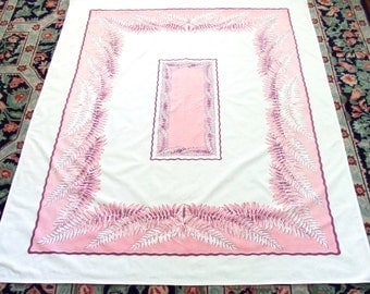 Collectible Tablecloth Pink Ferns Feathers Mid Century