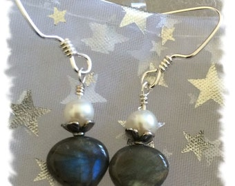 Labradorite, Freshwater Pearls and Sterling Silver Handcrafted Earrings -- Genuine Stones, Classic Look -- Great Gift Idea