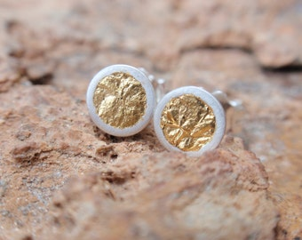 stud earrings gold circle small studs sterling silver round cup earrings with 24k gold leaf post earrings Christmas gift for her