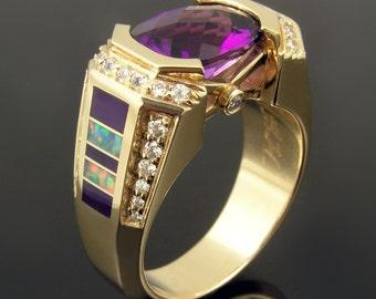 Australian opal, sugilite and amethyst wedding ring or engagement ring in 14 karat gold