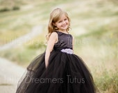 NEW! The Juliet Dress in Black with Rhinestone Sash - Flower Girl Tutu Dress
