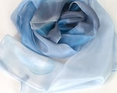 Pastel blue silk scarf. Hand painted silk scarf. Long abstract scarf. Luxury scarves and shawls. Uniquehand made gifts, Summer scarf