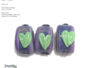 NUBBIES  99 Lampwork Bead Handmade BIG HOLE Purple Lavender Green Hearts -- fits 5mm leather and  Euro-Style