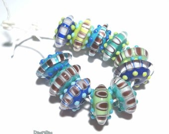 AQUA SAUCERS Lampwork Beads Handmade Cool Color Mix Blue Green Black White - Set of 11