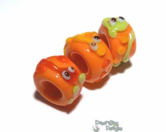 NUBBIES  109  Lampwork Bead Handmade BIG HOLE Orange Red Green Lizard Beads  -- fits 5mm leather and  Euro-Style