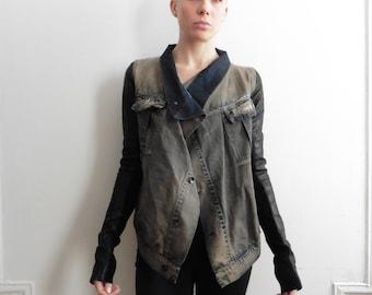 Rick Owens Denim and Leather Exploder Jacket
