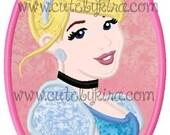 Cinderella Modern Cameo Applique Embroidery Design