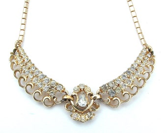 CORO Designer Rhinestone Necklace, Princess Weddings Party Bridal Wings Teardrop Gold Tone Jewelry