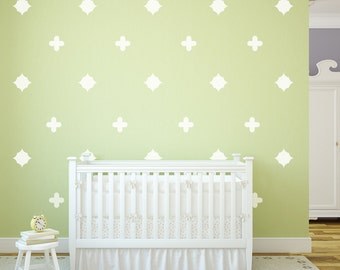 25 White Quatrefoil Fabric Decals, Eco-Friendly Removable and Reusable Matte Wall Stickers