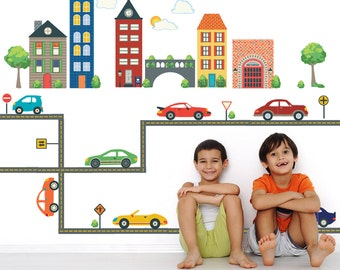 Transportation Town Wall Decals with Cars & Straight Road, Removable and Reusable Eco-friendly Fabric Wall Decal Stickers