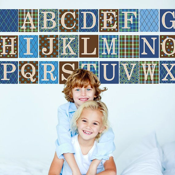 Alphabet Blocks Border Wall Decals Blue Brown Removable and Reusable