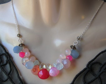 Multi Chalcedony Necklace- Multicolor, Gemstone Cluster, Silver