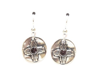 Sterling zia earrings, birthstone jewelry, southwest accessories, New Mexico bling