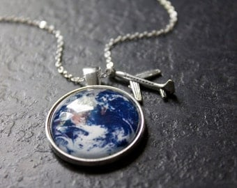 Wanderlust Necklace - Earth Necklace - Travel Explore Discover Glass Dome Necklace Plane Charm Pendant